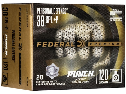 Federal Premium Personal Defense Punch Ammunition 38 Special +P 120 Grain Jacketed Holl...