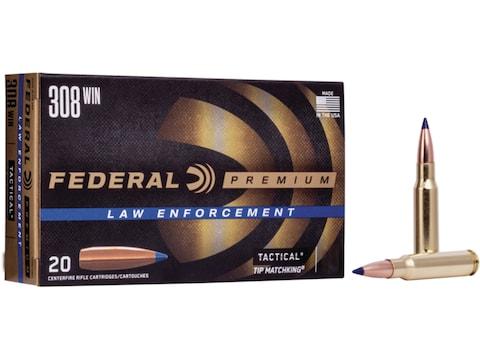 Federal Premium Law Enforcement Ammunition 308 Winchester 168 Grain Sierra Tactical Tip...