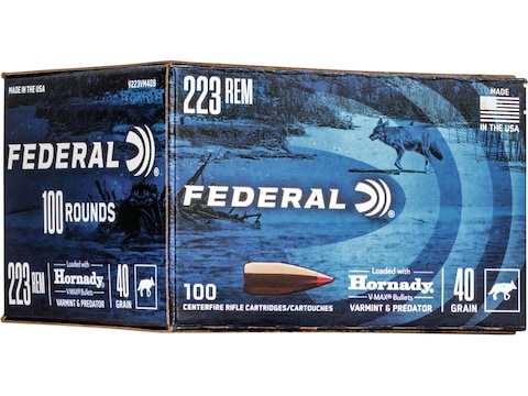 Federal Premium Varmint & Predator Ammunition 223 Remington 40 Grain Hornady V-MAX Poly...
