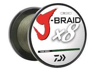 Daiwa J-Braid x8 Braided Fishing Line 15lb 150yd Dark Green