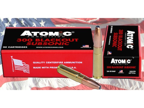 Atomic Ammunition 300 AAC Blackout Subsonic 260 Grain Expanding Round Nose Soft Point B...
