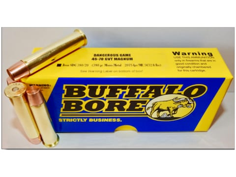 Buffalo Bore Dangerous Game Ammunition 45-70 Government 380 Grain Lehigh Mono-Metal Lea...