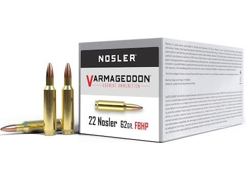 Nosler Varmageddon Ammunition 22 Nosler 62 Grain Hollow Point Flat Base Box of 50