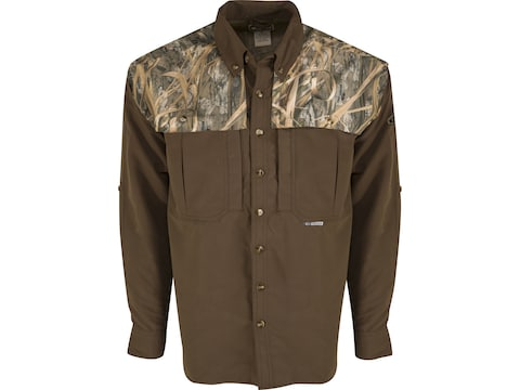 Drake Men's EST Two-Tone Vented Wingshooter's Long Sleeve Shirt Polyester