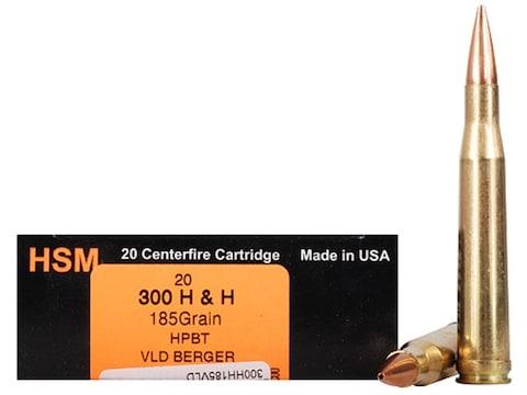HSM Trophy Gold Ammunition 300 H&H Magnum 185 Grain Berger Hunting VLD Hollow Point Boa...