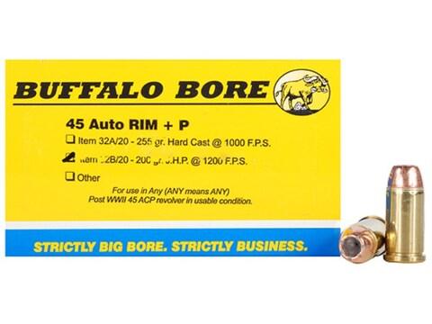Buffalo Bore Ammunition 45 Auto Rim (Not ACP) +P 200 Grain Jacketed Hollow Point Box of 20