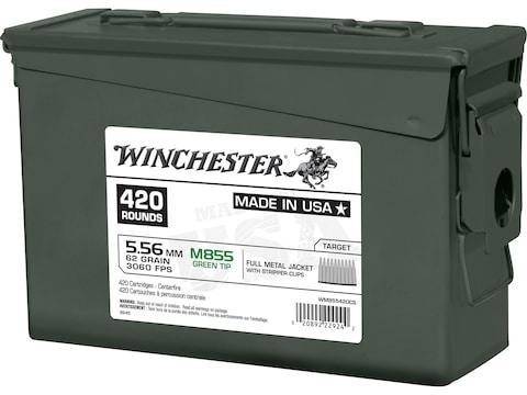Winchester Ammunition 5.56x45mm NATO 62 Grain M855 SS109 Penetrator Full Metal Jacket B...