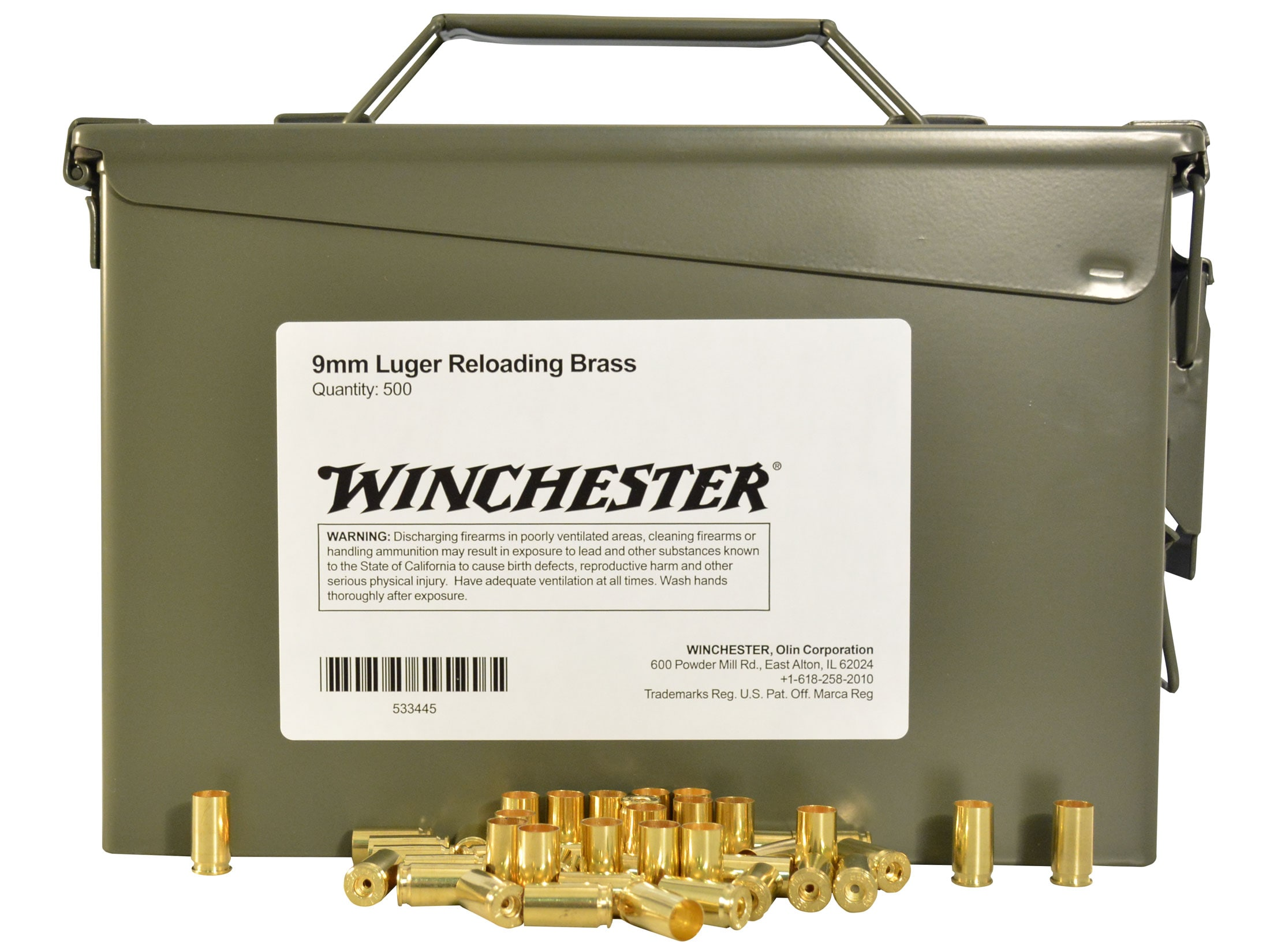 Winchester Brass 9mm Luger Ammo Can of 500 (Bulk Packaged)