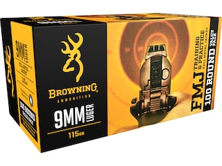 Browning FMJ Ammunition 9mm Luger 115 Grain Full Metal Jacket Box of 100