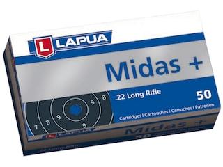 Lapua Midas+ Ammunition 22 Long Rifle 40 Grain Lead Round Nose Box of 50