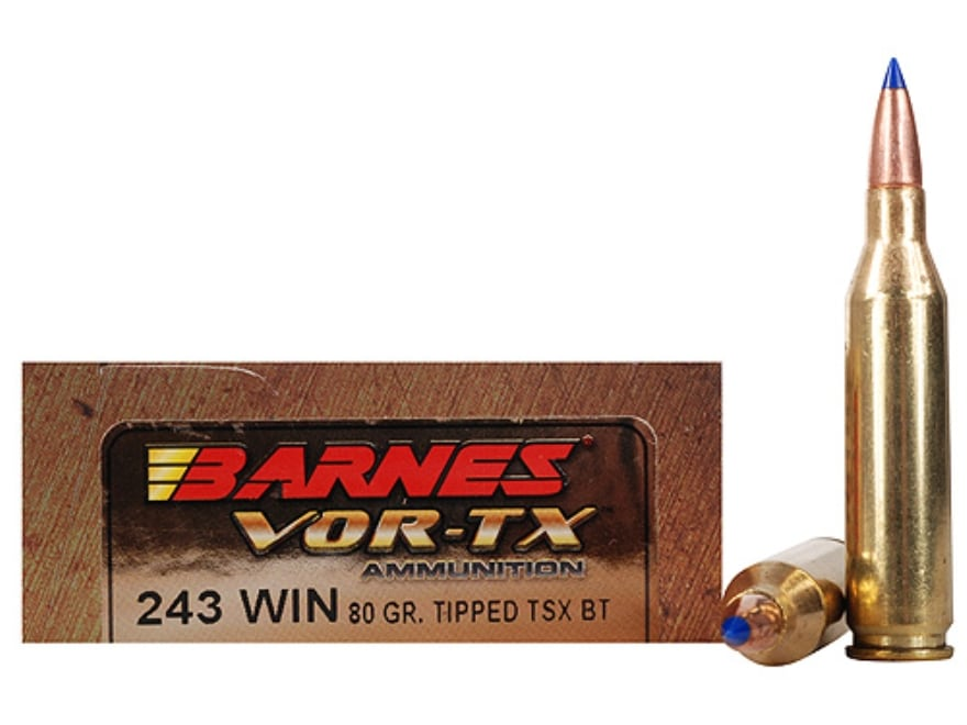 Barnes VOR-TX Ammo 243 Winchester 80 Grain TTSX Polymer Tipped Spitzer