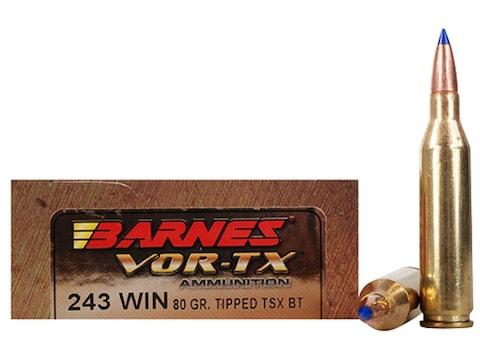 Barnes VOR-TX Ammunition 243 Winchester 80 Grain TTSX Polymer Tipped Spitzer Boat Tail ...