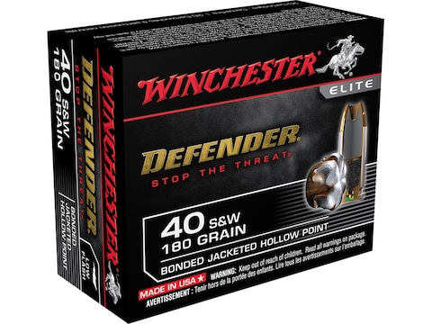 Winchester Defender Ammunition 40 S&W 180 Grain Bonded Jacketed Hollow Point