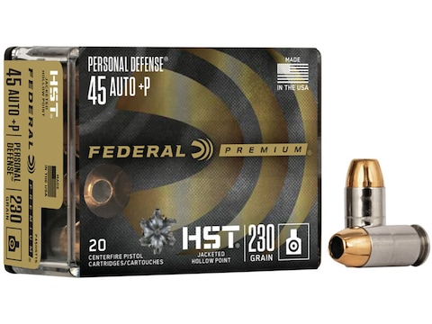 Federal Premium Personal Defense Ammunition 45 ACP +P 230 Grain HST Jacketed Hollow Poi...