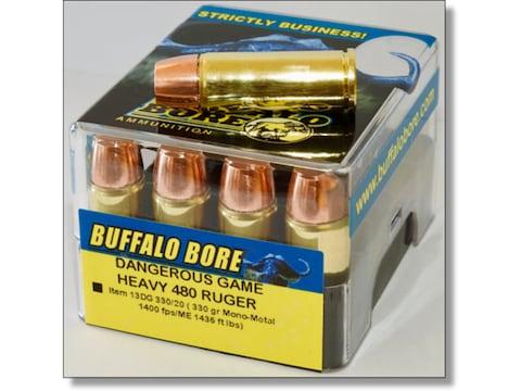 Buffalo Bore Dangerous Game Ammunition 480 Ruger 330 Grain Lehigh Mono-Metal Lead-Free ...