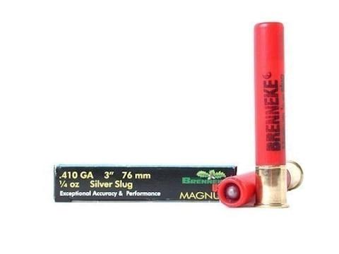 """Brenneke USA Magnum Ammunition 410 Bore 3"""" 1/4 oz Silver Rifled Slug Box of 5"""
