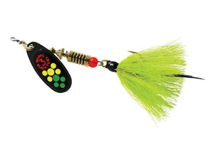 Mepps Aglia Black Fury Dressed Inline Spinner 1/4oz Chartreuse Tail Hot Firetiger Blade