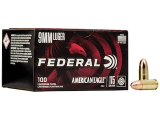Federal American Eagle Ammunition 9mm Luger 115 Grain Full Metal Jacket Case of 500 (5 Boxes of 100)