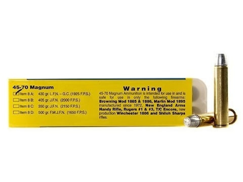 Buffalo Bore Ammunition 45-70 Government 430 Grain Lead Long Flat Nose Box of 20
