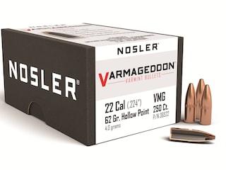 Nosler Varmageddon Bullets 22 Caliber (224 Diameter) 62 Grain Hollow Point Flat Base Box of 250