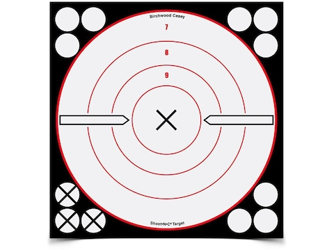 "Birchwood Casey Shoot-N-C White/Black 8"" X Bullseye Reactive Targets Pack of 6"