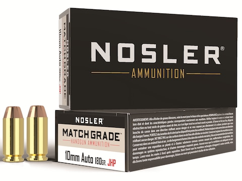 Nosler Match Grade Ammunition 10mm Auto 180 Grain Jacketed Hollow Point