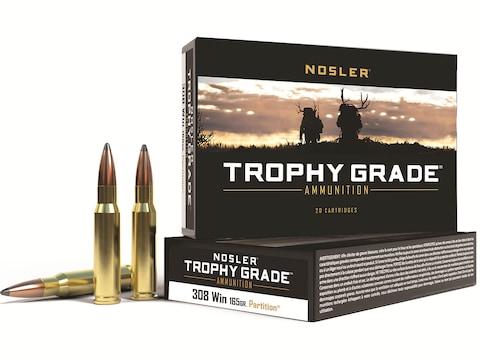 Nosler Trophy Grade Ammunition 308 Winchester 165 Grain Partition Box of 20