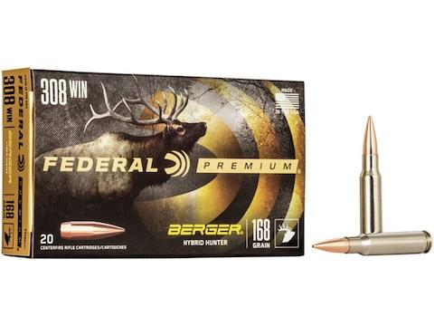Federal Premium Ammunition 308 Winchester 168 Grain Berger Hybrid Hunter Box of 20