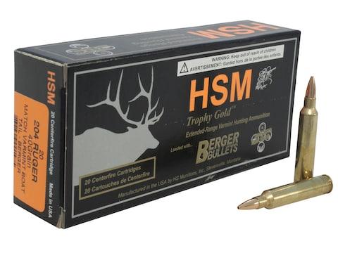 HSM Varmint Gold Ammunition 204 Ruger 40 Grain Berger Varmint Hollow Point Boat Tail Bo...