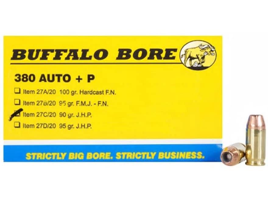 Buffalo Bore Ammo 380 ACP +P 90 Grain Jacketed Hollow Point Box of 20