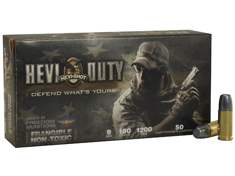 Hevi-Shot HEVI-Duty Defense Ammunition 9mm Luger 100 Grain Frangible Non-Toxic Lead-Fre...