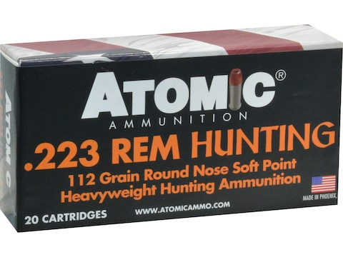 Atomic Hunting Ammunition 223 Remington 112 Grain Expanding Round Nose Soft Point Box o...