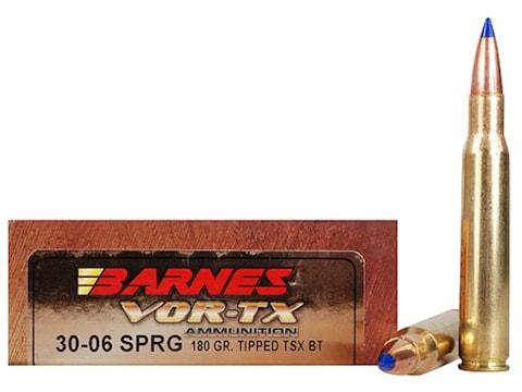 Barnes VOR-TX Ammunition 30-06 Springfield 180 Grain TTSX Polymer Tipped Spitzer Boat T...