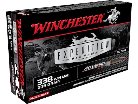 Winchester Expedition Big Game Ammunition 338 Winchester Magnum 225 Grain Nosler AccuBo...