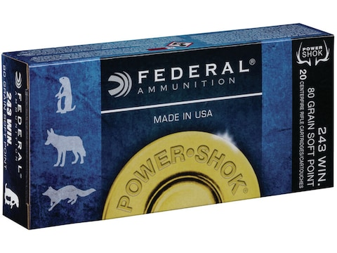 Federal Power-Shok Ammunition 243 Winchester 80 Grain Soft Point Box of 20