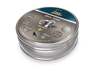H&N Silver Point Pellets 22 Caliber 17.13 Grain 5.5mm Head-Size Pointed Tin of 200