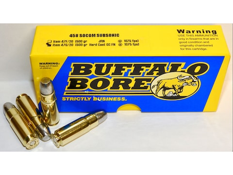 Buffalo Bore Ammunition 458 SOCOM Subsonic 500 Grain Hard Cast Lead Gas Check Flat Nose...