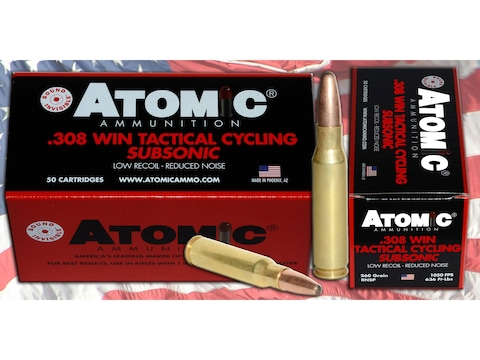 Atomic Tactical Cycling Subsonic Ammunition 308 Winchester 260 Grain Expanding Round No...