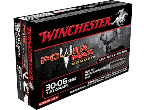 Winchester Power Max Bonded Ammunition 30-06 Springfield 180 Grain Protected Hollow Poi...