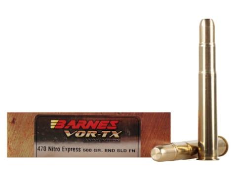 Barnes VOR-TX Safari Ammunition 470 Nitro Express 500 Grain Banded Solid Flat Point Lea...