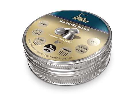 H&N Baracuda Match Air Gun Pellets 22 Caliber 21.14 Grain 5.52mm Head-Size Domed Tin of...