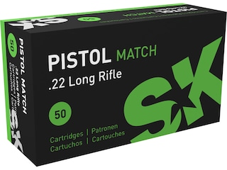 SK Pistol Match Ammunition 22 Long Rifle 40 Grain Lead Round Nose Box of 50