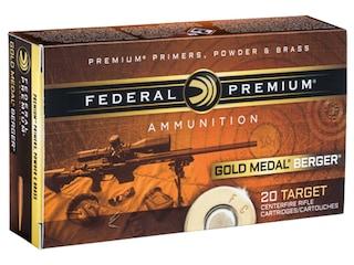 Federal Premium Gold Medal Berger Ammunition 308 Winchester 185 Grain Berger Juggernaut Open Tip Match Box of 20