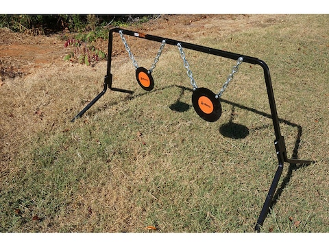 """Viking Solutions Single Stand Dual GONG Target System 8"""" and 10"""" Gongs 3/8"""" AR500 Steel"""