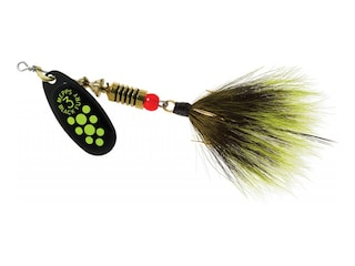 Mepps Aglia Black Fury Dressed Inline Spinner 1/4oz Gray & Chartreuse Tail Chartreuse Dot Blade