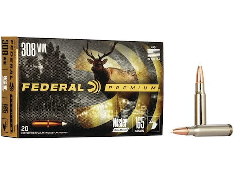 Federal Premium Ammunition 308 Winchester 165 Grain Nosler AccuBond Box of 20