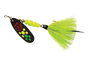 Mepps Aglia Black Fury Dressed Inline Spinner 1/2oz Chartreuse Tail Hot Firetiger Blade