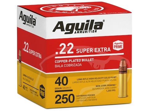 Aguila Super Extra High Velocity Ammo 22 Long Rifle 40 Grain Plated