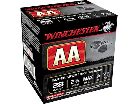 "Winchester AA Super Sport Sporting Clays Ammunition 28 Gauge 2-3/4"" 3/4 oz"