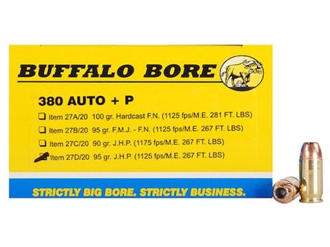 Buffalo Bore Ammunition 380 ACP +P 95 Grain Jacketed Hollow Point Box of 20